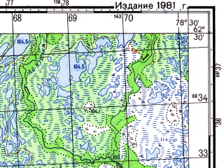 Reduced fragment of topographic map ru--gs--050k--p44-049-3_4--N062-30_E078-00--N062-20_E078-30