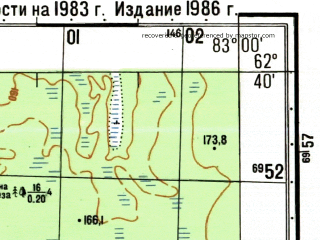 Reduced fragment of topographic map ru--gs--050k--p44-058-1_2--N062-40_E082-30--N062-30_E083-00