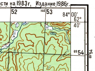 Reduced fragment of topographic map ru--gs--050k--p44-060-1_2--N062-40_E083-30--N062-30_E084-00
