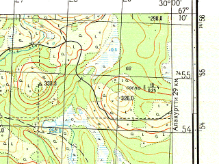 Reduced fragment of topographic map ru--gs--050k--q35-036-3_4--N067-10_E029-30--N067-00_E030-00
