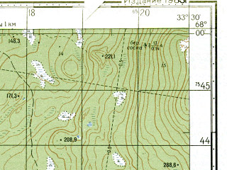 Reduced fragment of topographic map ru--gs--050k--q36-007-1_2--N068-00_E033-00--N067-50_E033-30; towns and cities Imandra