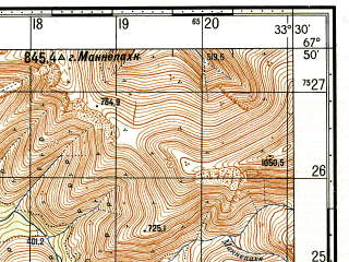 Reduced fragment of topographic map ru--gs--050k--q36-007-3_4--N067-50_E033-00--N067-40_E033-30