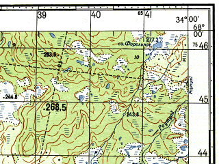 Reduced fragment of topographic map ru--gs--050k--q36-008-1_2--N068-00_E033-30--N067-50_E034-00