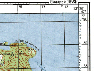Reduced fragment of topographic map ru--gs--050k--q36-017-3_4--N067-30_E032-00--N067-20_E032-30