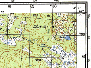 Reduced fragment of topographic map ru--gs--050k--q36-021-3_4--N067-30_E034-00--N067-20_E034-30; towns and cities Kapustnoye