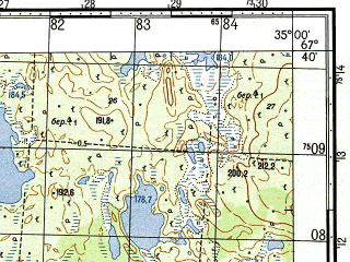 Reduced fragment of topographic map ru--gs--050k--q36-022-1_2--N067-40_E034-30--N067-30_E035-00; towns and cities Umbozero