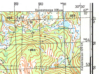 Reduced fragment of topographic map ru--gs--050k--q36-025-3_4--N067-10_E030-00--N067-00_E030-30