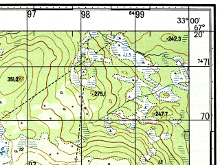 Reduced fragment of topographic map ru--gs--050k--q36-030-1_2--N067-20_E032-30--N067-10_E033-00