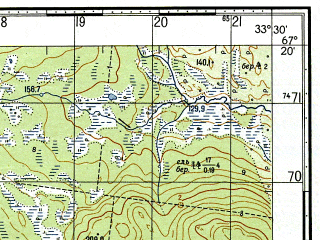 Reduced fragment of topographic map ru--gs--050k--q36-031-1_2--N067-20_E033-00--N067-10_E033-30