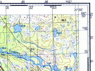 Reduced fragment of topographic map ru--gs--050k--q36-039-3_4--N066-50_E031-00--N066-40_E031-30; towns and cities Zarechensk