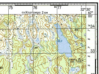 Reduced fragment of topographic map ru--gs--050k--q36-041-1_2--N067-00_E032-00--N066-50_E032-30; towns and cities Knyazhaya Guba