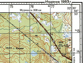 Reduced fragment of topographic map ru--gs--050k--q36-041-3_4--N066-50_E032-00--N066-40_E032-30