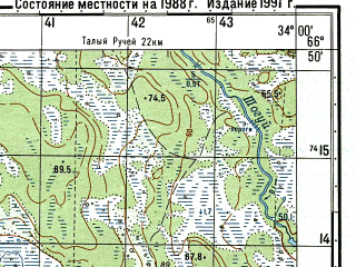 Reduced fragment of topographic map ru--gs--050k--q36-044-3_4--N066-50_E033-30--N066-40_E034-00; towns and cities Poryaguba