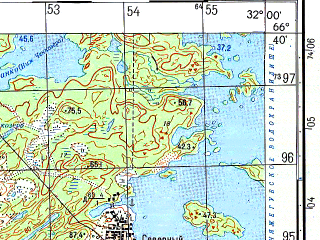 Reduced fragment of topographic map ru--gs--050k--q36-052-1_2--N066-40_E031-30--N066-30_E032-00