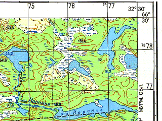 Reduced fragment of topographic map ru--gs--050k--q36-053-3_4--N066-30_E032-00--N066-20_E032-30