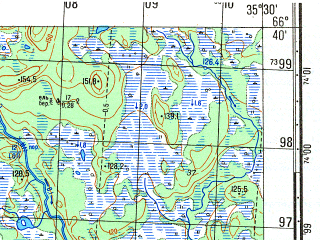 Reduced fragment of topographic map ru--gs--050k--q36-059-1_2--N066-40_E035-00--N066-30_E035-30