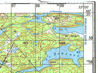 Reduced fragment of topographic map ru--gs--050k--q36-066-1_2--N066-20_E032-30--N066-10_E033-00