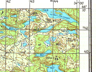Reduced fragment of topographic map ru--gs--050k--q36-068-3_4--N066-10_E033-30--N066-00_E034-00