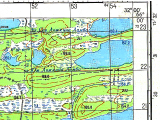 Reduced fragment of topographic map ru--gs--050k--q36-076-1_2--N066-00_E031-30--N065-50_E032-00; towns and cities Kesten'ga
