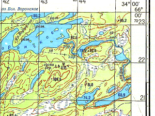 Reduced fragment of topographic map ru--gs--050k--q36-080-1_2--N066-00_E033-30--N065-50_E034-00