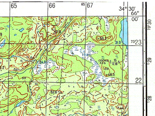 Reduced fragment of topographic map ru--gs--050k--q36-081-1_2--N066-00_E034-00--N065-50_E034-30