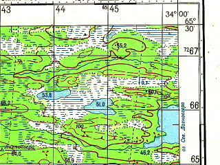 Reduced fragment of topographic map ru--gs--050k--q36-092-3_4--N065-30_E033-30--N065-20_E034-00