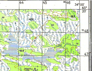 Reduced fragment of topographic map ru--gs--050k--q36-104-1_2--N065-20_E033-30--N065-10_E034-00; towns and cities Vokshozero