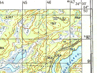 Reduced fragment of topographic map ru--gs--050k--q36-116-3_4--N064-50_E033-30--N064-40_E034-00