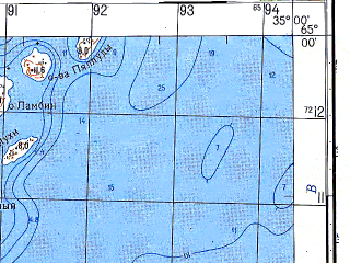 Reduced fragment of topographic map ru--gs--050k--q36-118-1_2--N065-00_E034-30--N064-50_E035-00; towns and cities Kem', Rabocheostrovsk