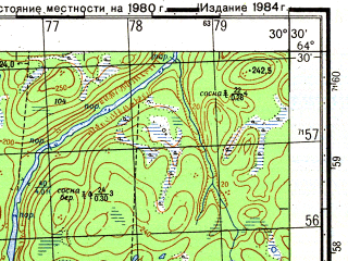 Reduced fragment of topographic map ru--gs--050k--q36-121-3_4--N064-30_E030-00--N064-20_E030-30