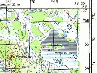Reduced fragment of topographic map ru--gs--050k--q36-129-3_4--N064-30_E034-00--N064-20_E034-30; towns and cities Sosnovets
