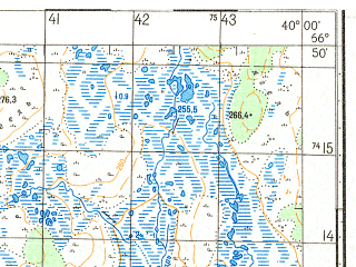 Reduced fragment of topographic map ru--gs--050k--q37-044-3_4--N066-50_E039-30--N066-40_E040-00