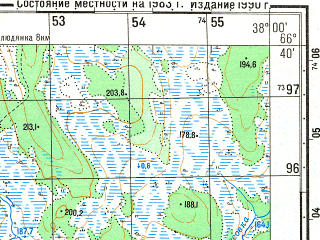 Reduced fragment of topographic map ru--gs--050k--q37-052-1_2--N066-40_E037-30--N066-30_E038-00