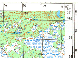 Reduced fragment of topographic map ru--gs--050k--q37-064-1_2--N066-20_E037-30--N066-10_E038-00