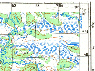 Reduced fragment of topographic map ru--gs--050k--q37-064-3_4--N066-10_E037-30--N066-00_E038-00; towns and cities Chavanga