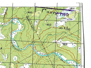 Reduced fragment of topographic map ru--gs--050k--q40-084-3_4--N065-50_E059-30--N065-40_E060-00