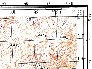 Reduced fragment of topographic map ru--gs--050k--q42-013-1_2--N067-40_E066-00--N067-30_E066-30