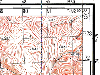 Reduced fragment of topographic map ru--gs--050k--q42-025-1_2--N067-20_E066-00--N067-10_E066-30