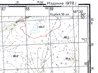 Reduced fragment of topographic map ru--gs--050k--q42-037-3_4--N066-50_E066-00--N066-40_E066-30; towns and cities Obskaya