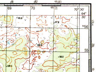 Reduced fragment of topographic map ru--gs--050k--q42-129-3_4--N064-30_E070-00--N064-20_E070-30