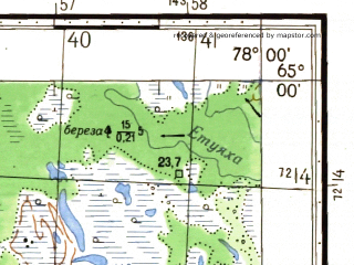 Reduced fragment of topographic map ru--gs--050k--q43-120-1_2--(1975)--N065-00_E077-30--N064-50_E078-00; towns and cities Tarko-sale