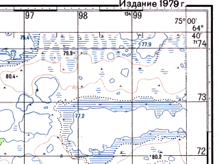 Reduced fragment of topographic map ru--gs--050k--q43-126-1_2--N064-40_E074-30--N064-30_E075-00