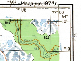 Reduced fragment of topographic map ru--gs--050k--q43-142-3_4--N064-10_E076-30--N064-00_E077-00; towns and cities Vengapur