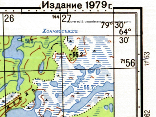 Reduced fragment of topographic map ru--gs--050k--q44-123-3_4--N064-30_E079-00--N064-20_E079-30 in area of Ozero Caselskoe