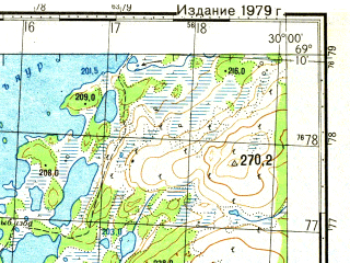 Reduced fragment of topographic map ru--gs--050k--r35-108-3_4--N069-10_E029-30--N069-00_E030-00