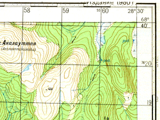 Reduced fragment of topographic map ru--gs--050k--r35-129-1_2--N068-40_E028-00--N068-30_E028-30