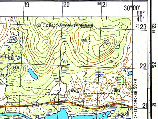 Reduced fragment of topographic map ru--gs--050k--r35-132-1_2--N068-40_E029-30--N068-30_E030-00