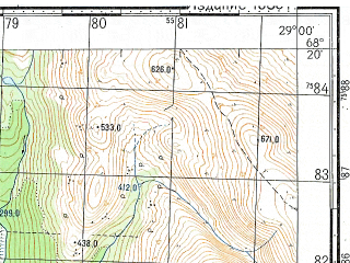 Reduced fragment of topographic map ru--gs--050k--r35-141-1_2--N068-20_E028-00--N068-10_E028-30