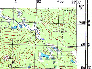 Reduced fragment of topographic map ru--gs--050k--r35-143-3_4--N068-10_E029-00--N068-00_E029-30