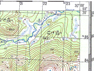 Reduced fragment of topographic map ru--gs--050k--r35-144-1_2--N068-20_E029-30--N068-10_E030-00